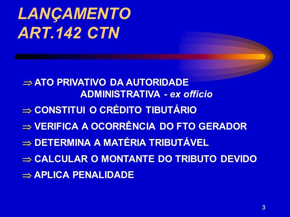LANÇAMENTO ART.142 CTN  ATO PRIVATIVO DA AUTORIDADE ADMINISTRATIVA - ex officio.  CONSTITUI O CRÉDITO TIBUTÁRIO.
