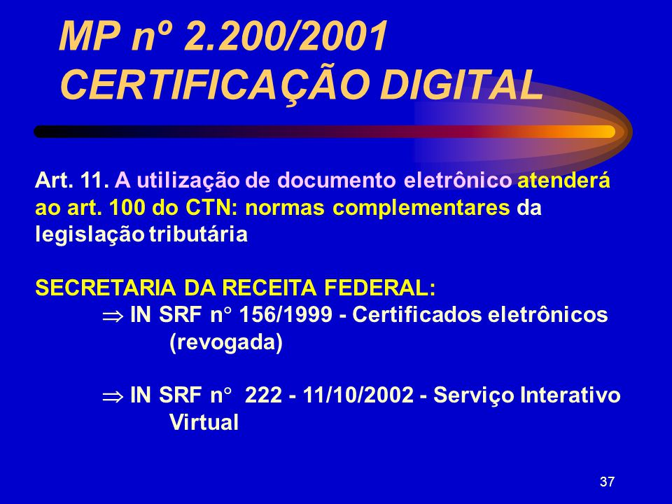 MP nº 2.200/2001 CERTIFICAÇÃO DIGITAL