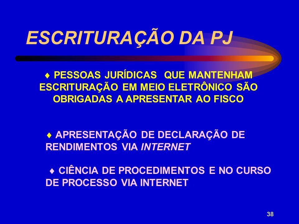 ESCRITURAÇÃO DA PJ  PESSOAS JURÍDICAS QUE MANTENHAM ESCRITURAÇÃO EM MEIO ELETRÔNICO SÃO OBRIGADAS A APRESENTAR AO FISCO.