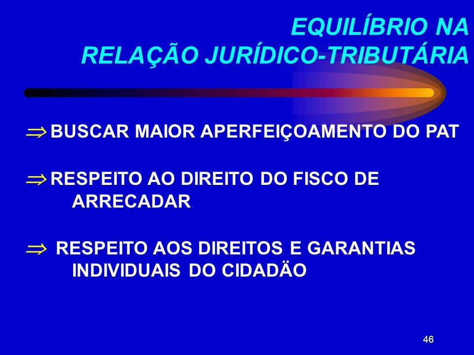 EQUILÍBRIO NA RELAÇÃO JURÍDICO-TRIBUTÁRIA