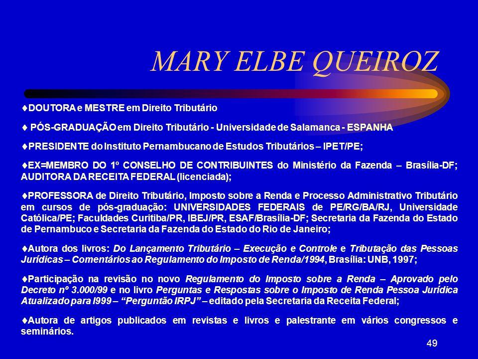 MARY ELBE QUEIROZ DOUTORA e MESTRE em Direito Tributário