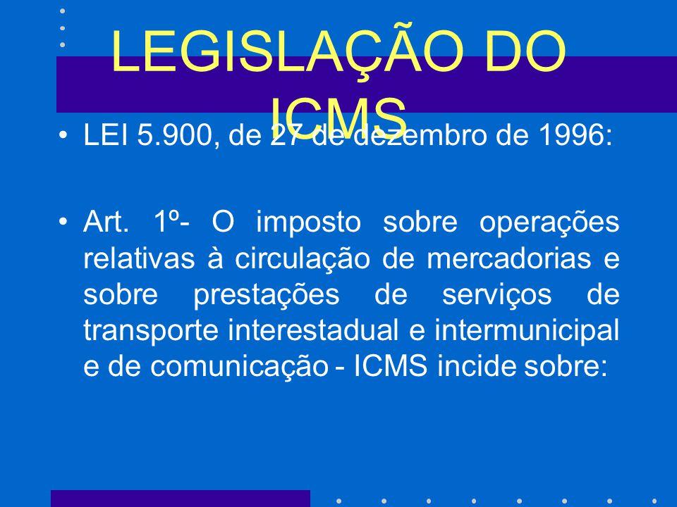 LEGISLAÇÃO DO ICMS LEI 5.900, de 27 de dezembro de 1996: