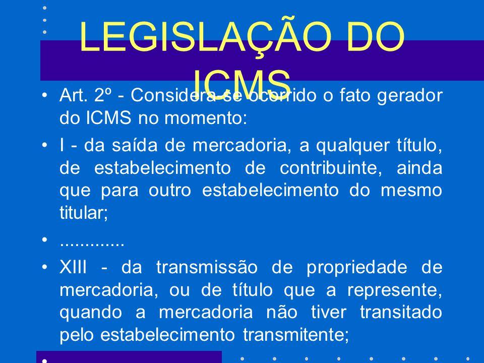 LEGISLAÇÃO DO ICMS Art. 2º - Considera-se ocorrido o fato gerador do ICMS no momento: