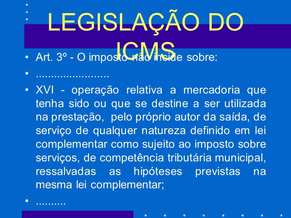 LEGISLAÇÃO DO ICMS Art. 3º - O imposto não incide sobre: