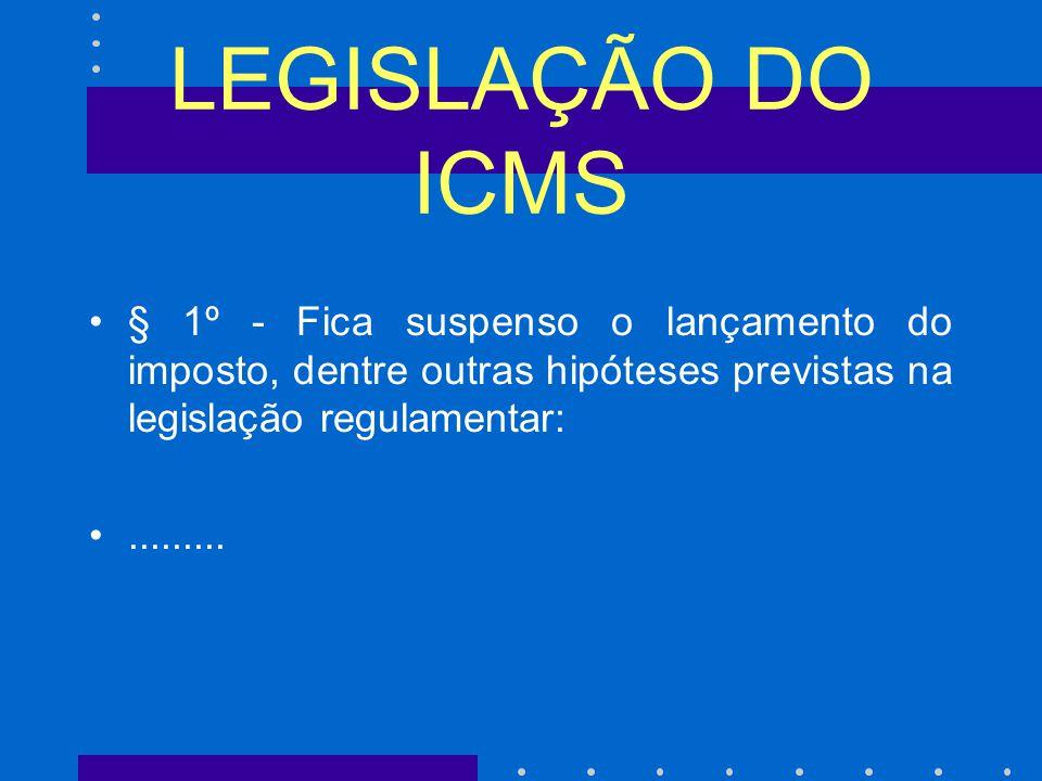 LEGISLAÇÃO DO ICMS § 1º - Fica suspenso o lançamento do imposto, dentre outras hipóteses previstas na legislação regulamentar:
