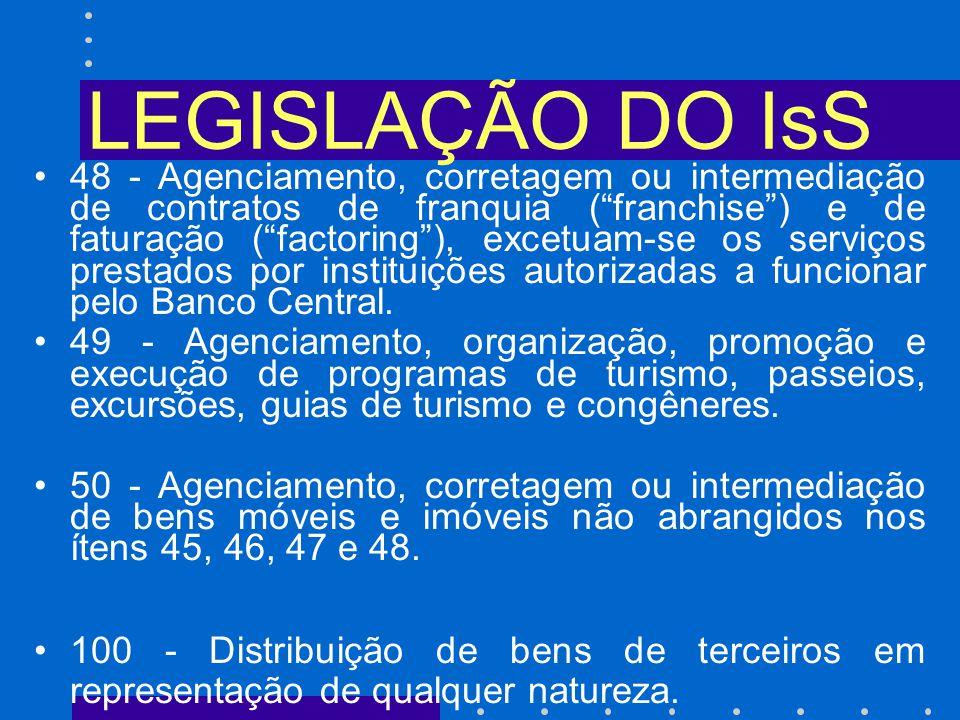 LEGISLAÇÃO DO IsS