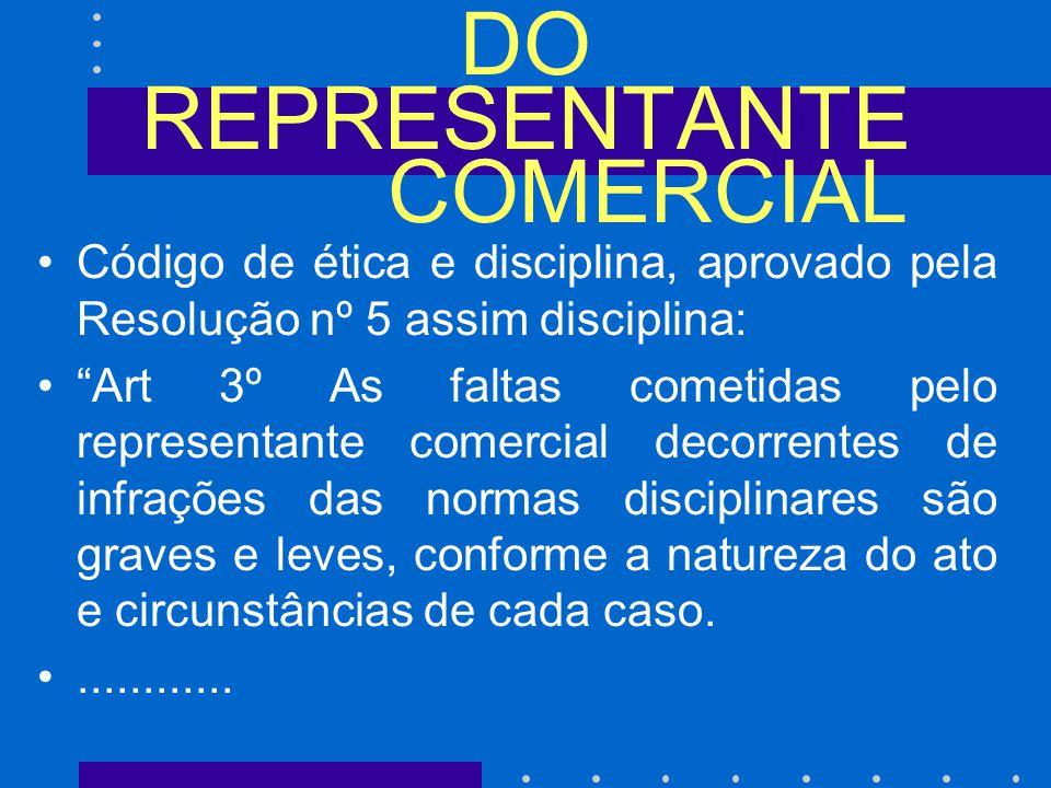 DO REPRESENTANTE COMERCIAL