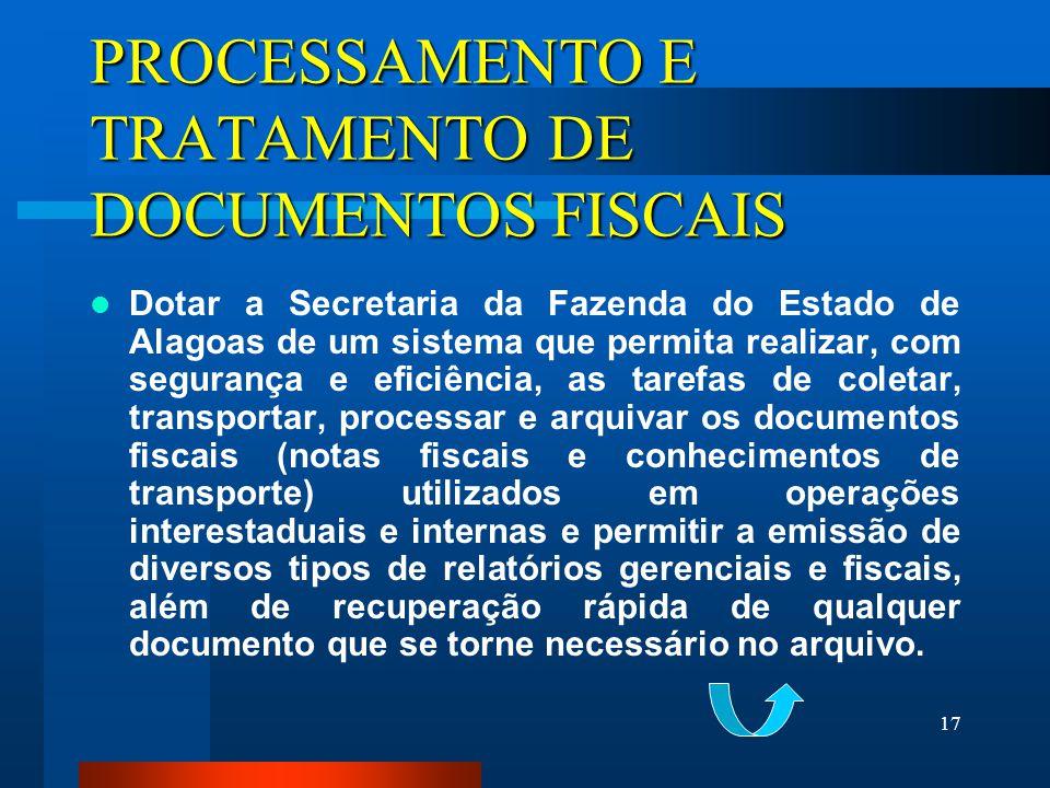 PROCESSAMENTO E TRATAMENTO DE DOCUMENTOS FISCAIS