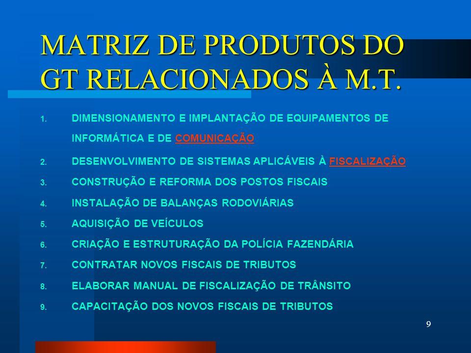 MATRIZ DE PRODUTOS DO GT RELACIONADOS À M.T.
