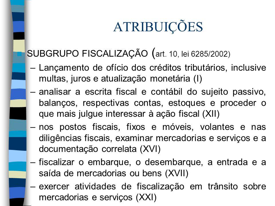 ATRIBUIÇÕES SUBGRUPO FISCALIZAÇÃO (art. 10, lei 6285/2002)