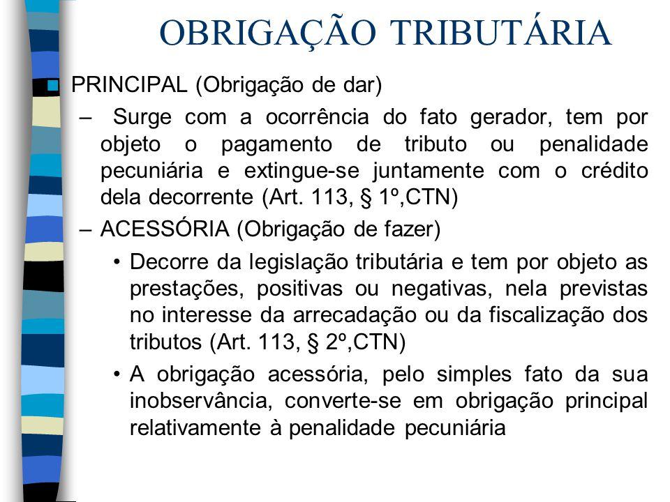 OBRIGAÇÃO TRIBUTÁRIA PRINCIPAL (Obrigação de dar)