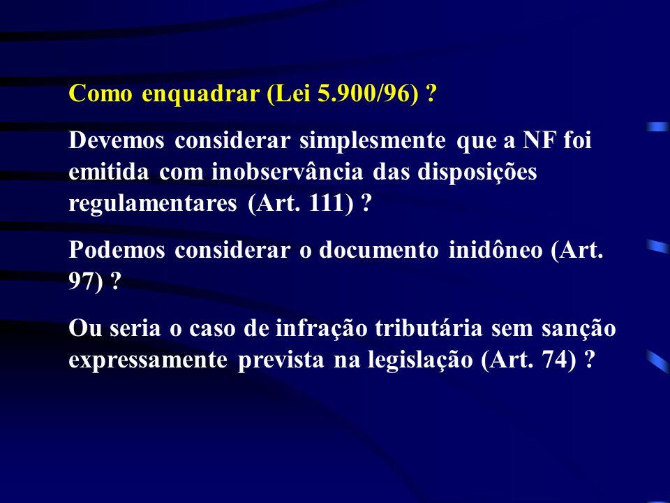 Como enquadrar (Lei 5.900/96) Devemos considerar simplesmente que a NF foi emitida com inobservância das disposições regulamentares (Art. 111)