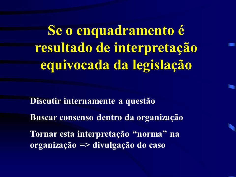 Se o enquadramento é resultado de interpretação equivocada da legislação