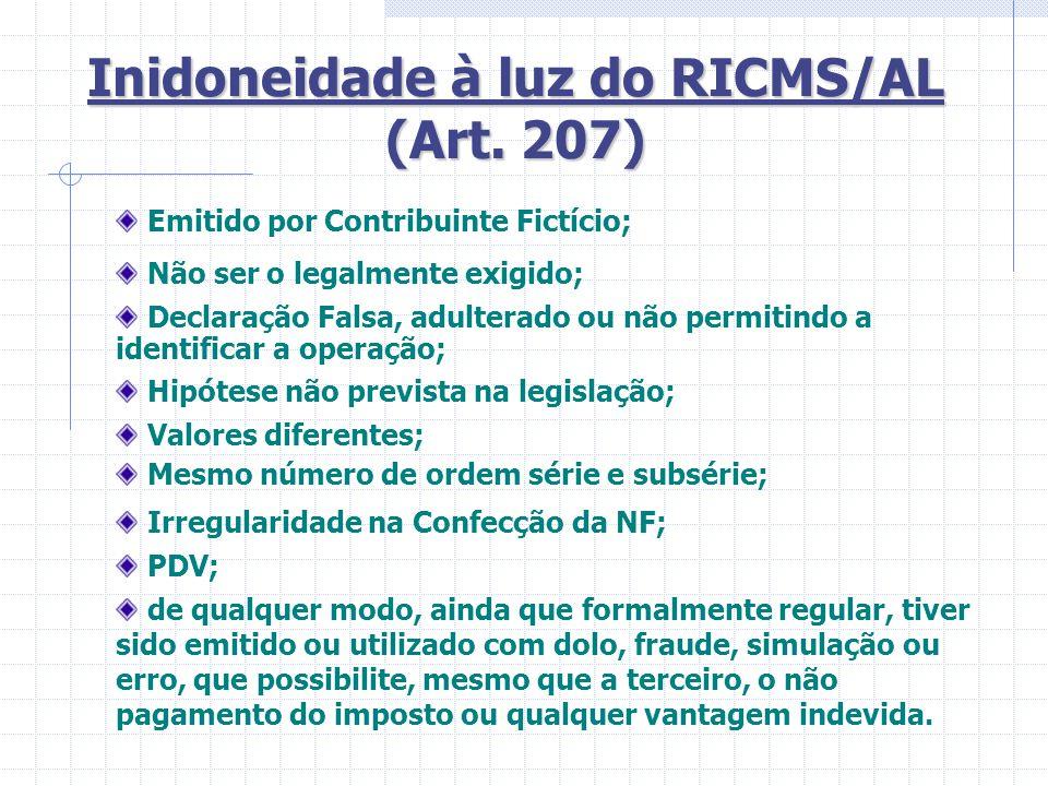 Inidoneidade à luz do RICMS/AL (Art. 207)