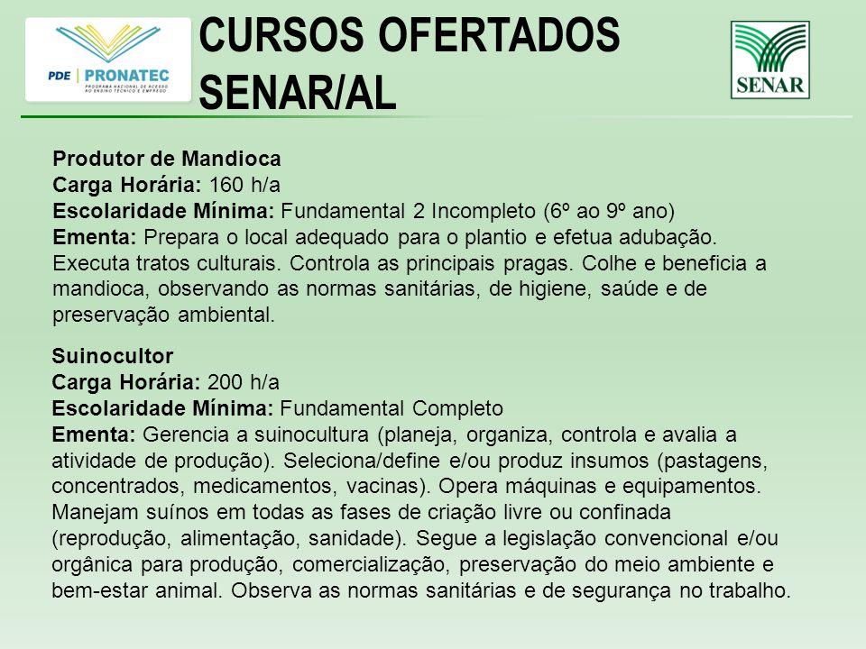 CURSOS OFERTADOS SENAR/AL Produtor de Mandioca Carga Horária: 160 h/a