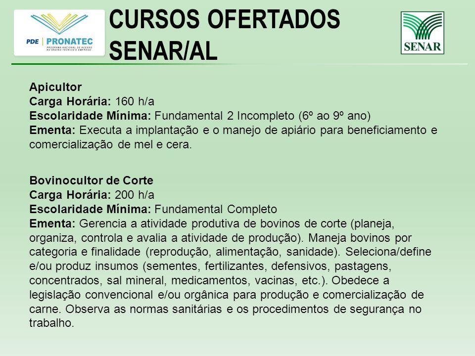 CURSOS OFERTADOS SENAR/AL Apicultor Carga Horária: 160 h/a