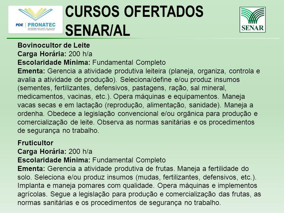 CURSOS OFERTADOS SENAR/AL Bovinocultor de Leite Carga Horária: 200 h/a