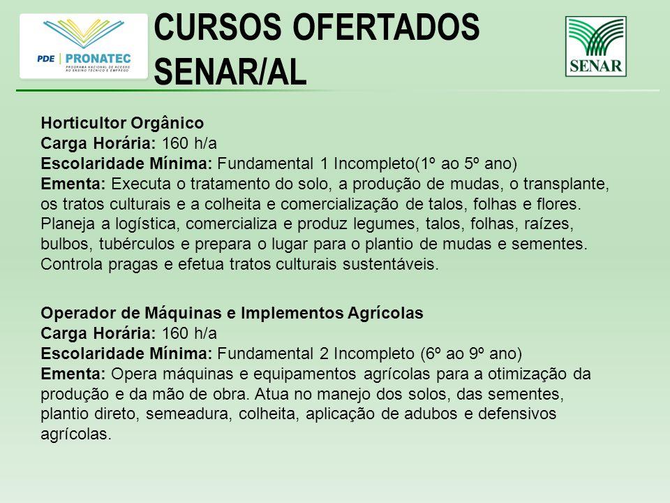 CURSOS OFERTADOS SENAR/AL Horticultor Orgânico Carga Horária: 160 h/a