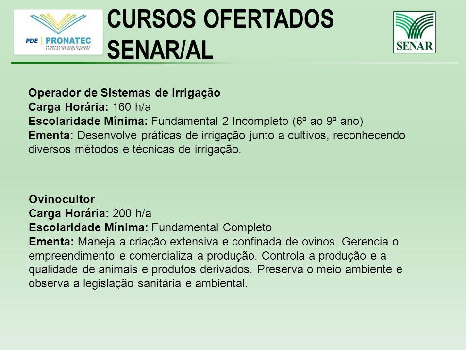 CURSOS OFERTADOS SENAR/AL Operador de Sistemas de Irrigação