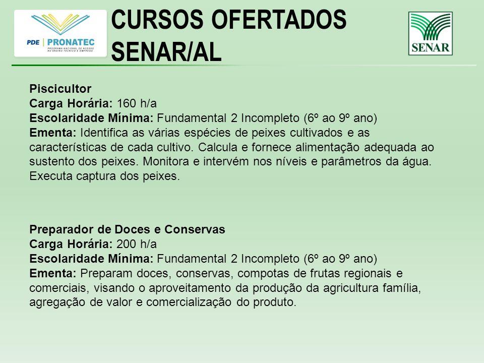 CURSOS OFERTADOS SENAR/AL Piscicultor Carga Horária: 160 h/a