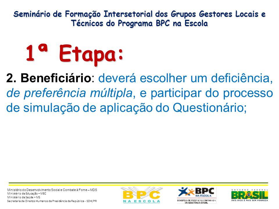 Seminário de Formação Intersetorial dos Grupos Gestores Locais e Técnicos do Programa BPC na Escola