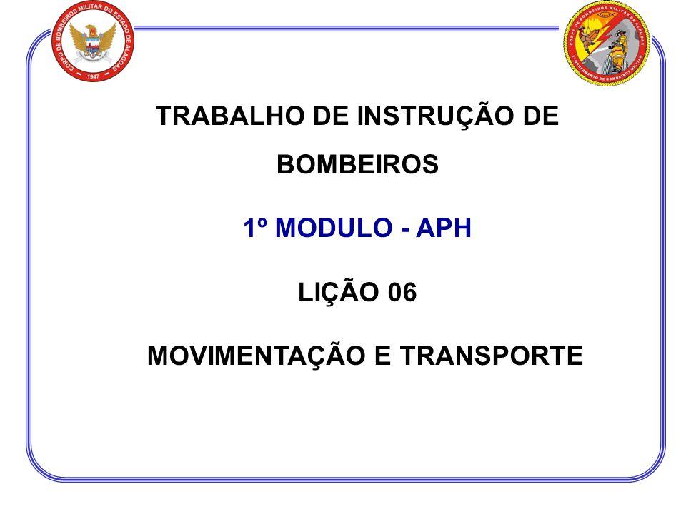 TRABALHO DE INSTRUÇÃO DE BOMBEIROS MOVIMENTAÇÃO E TRANSPORTE