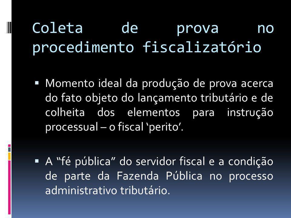 Coleta de prova no procedimento fiscalizatório
