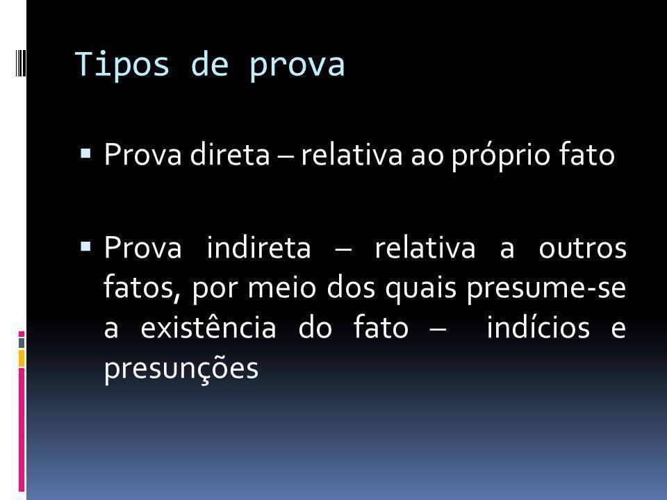 Tipos de prova Prova direta – relativa ao próprio fato