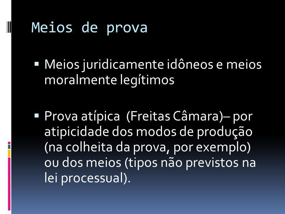Meios de prova Meios juridicamente idôneos e meios moralmente legítimos.