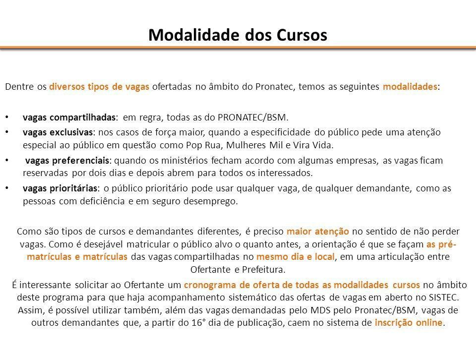 Modalidade dos Cursos Dentre os diversos tipos de vagas ofertadas no âmbito do Pronatec, temos as seguintes modalidades: