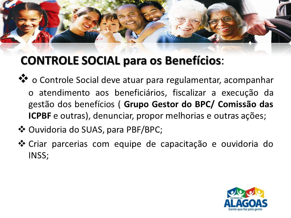 CONTROLE SOCIAL para os Benefícios: