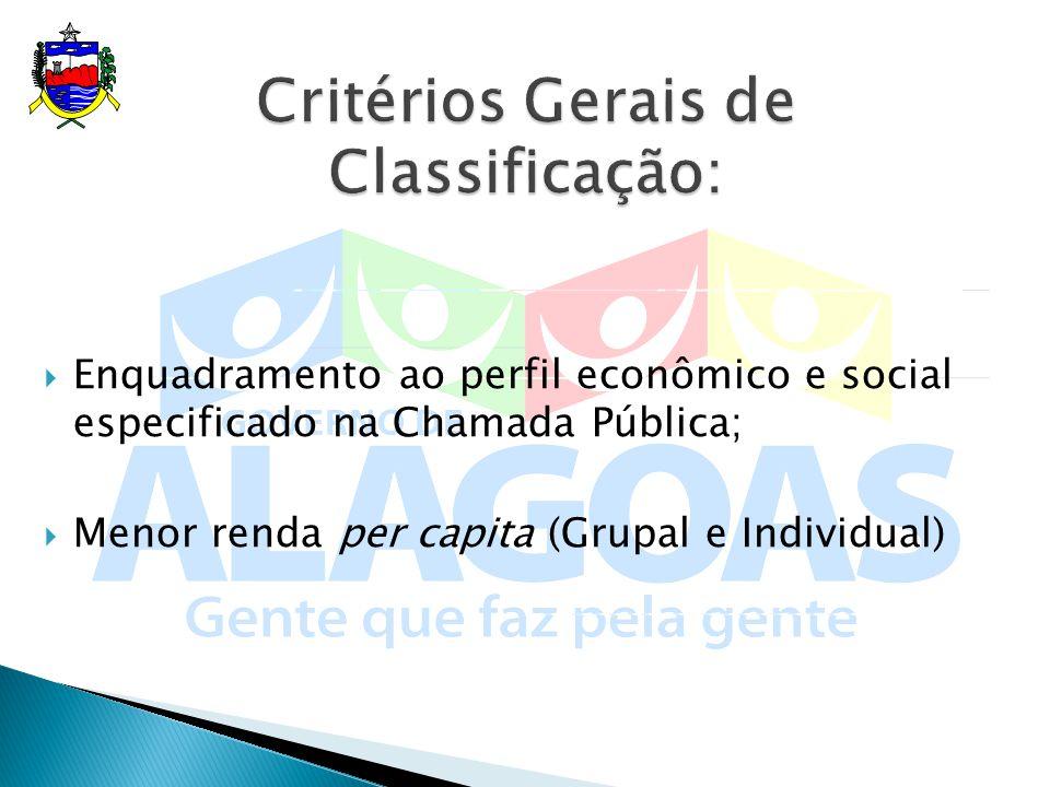Critérios Gerais de Classificação: