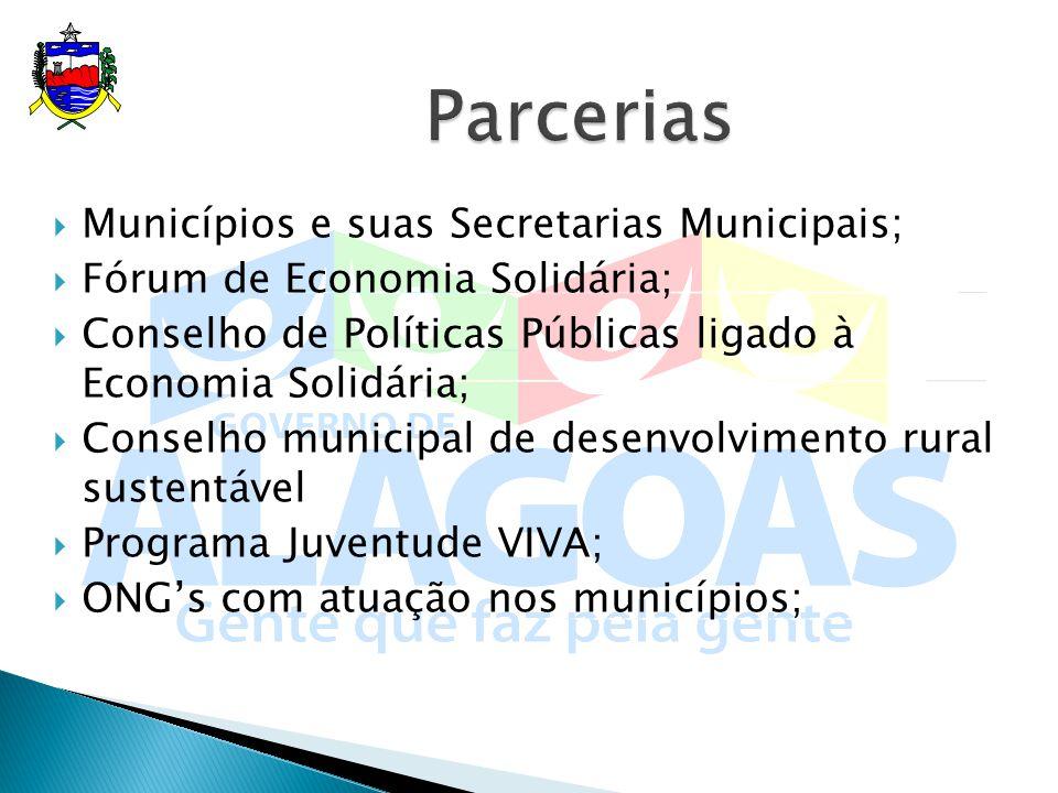 Parcerias Municípios e suas Secretarias Municipais;