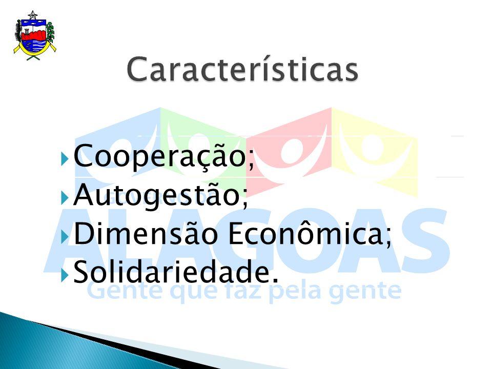 Características Cooperação; Autogestão; Dimensão Econômica;
