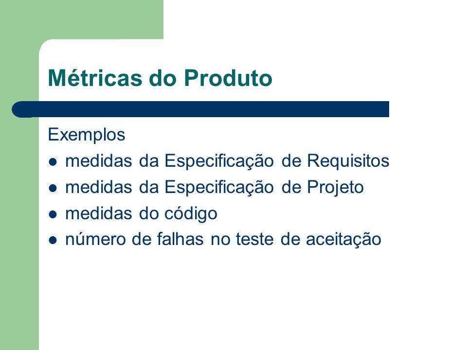 Métricas do Produto Exemplos medidas da Especificação de Requisitos
