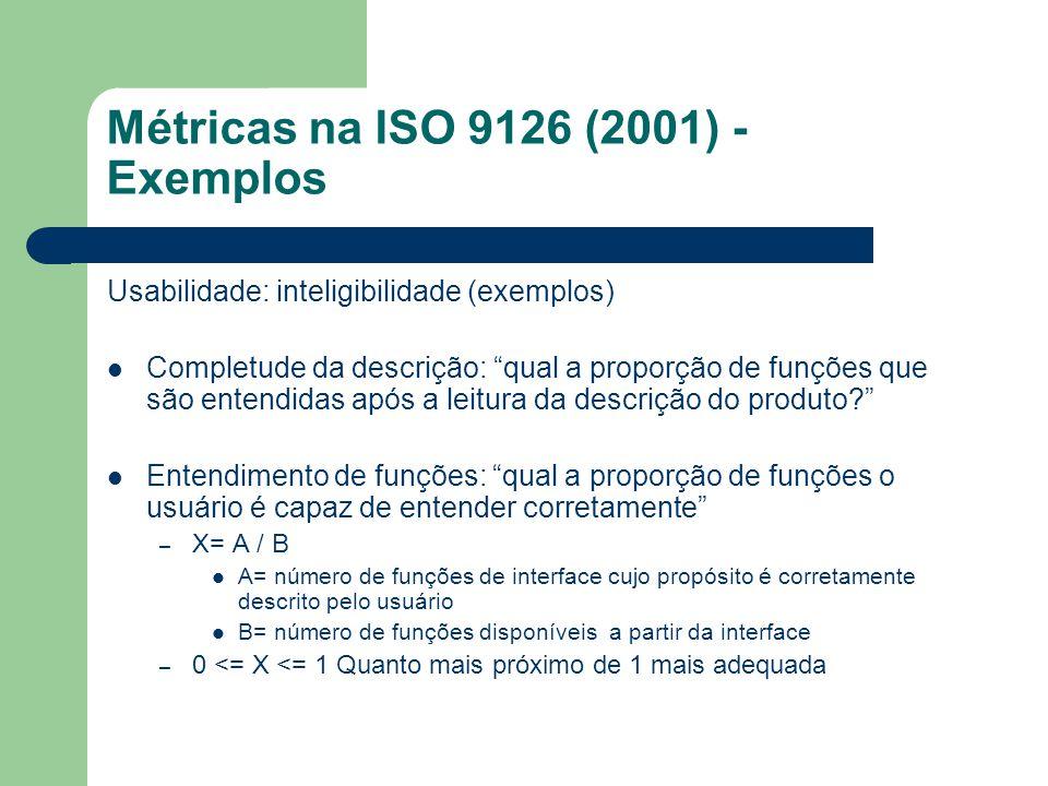 Métricas na ISO 9126 (2001) - Exemplos