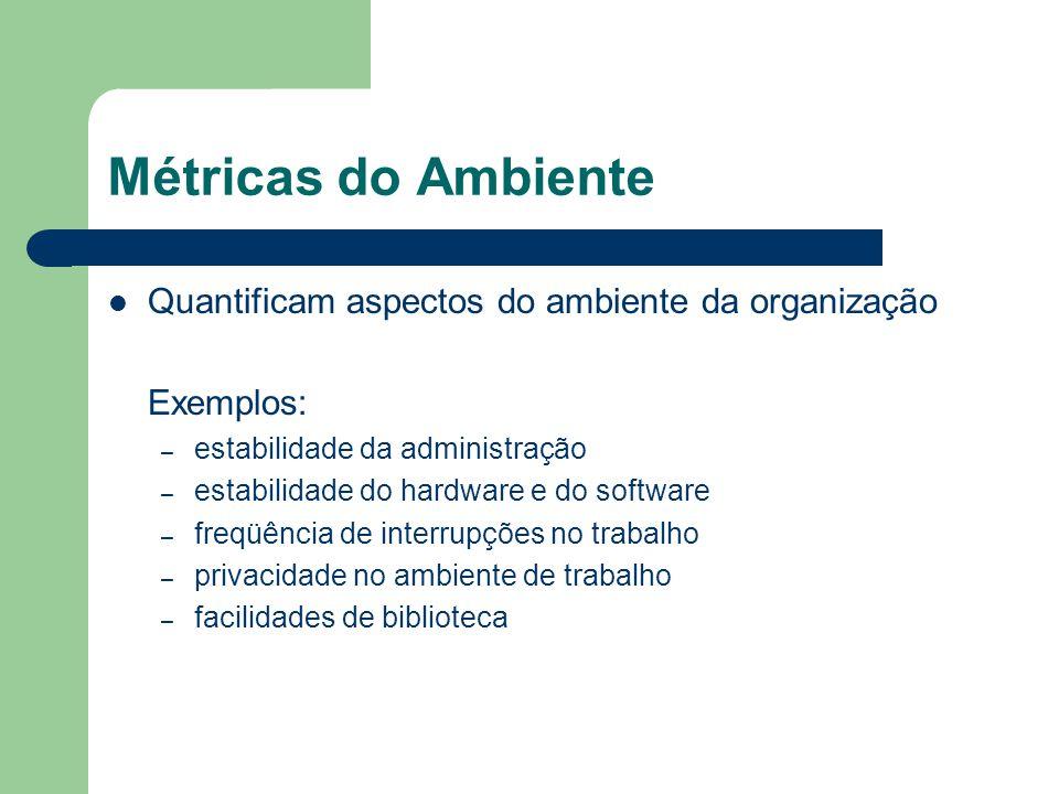 Métricas do Ambiente Quantificam aspectos do ambiente da organização