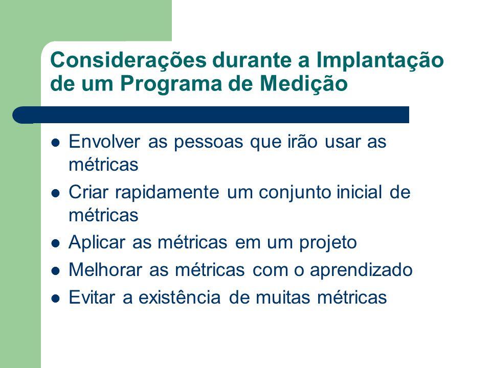 Considerações durante a Implantação de um Programa de Medição