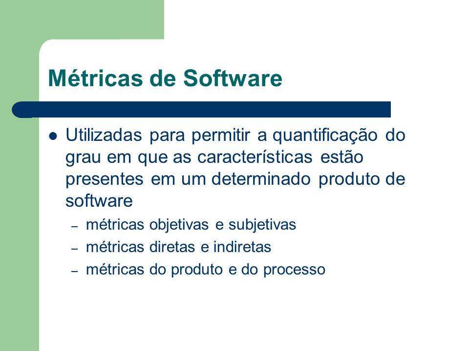 Métricas de Software Utilizadas para permitir a quantificação do grau em que as características estão presentes em um determinado produto de software.