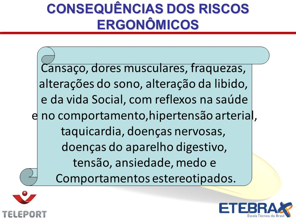 CONSEQUÊNCIAS DOS RISCOS ERGONÔMICOS