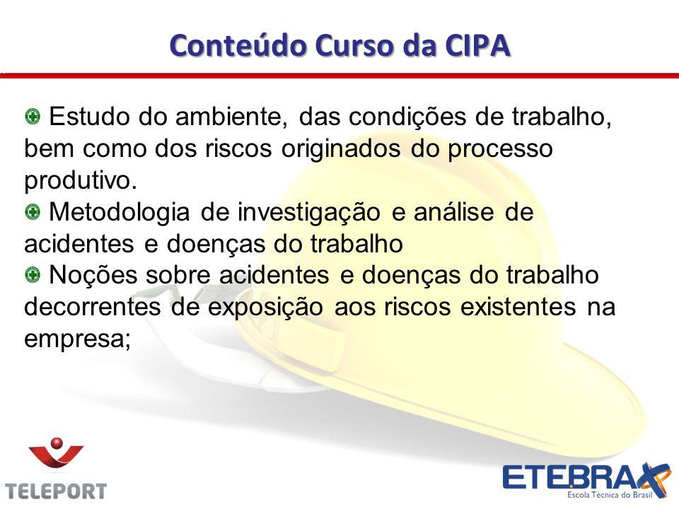 Conteúdo Curso da CIPA Estudo do ambiente, das condições de trabalho, bem como dos riscos originados do processo produtivo.