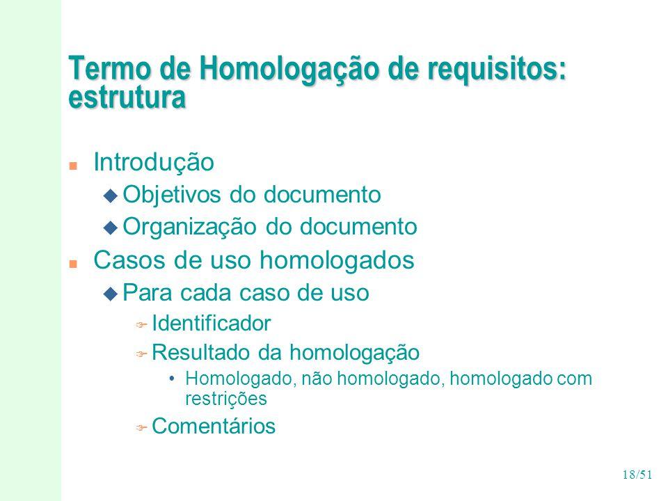 Termo de Homologação de requisitos: estrutura