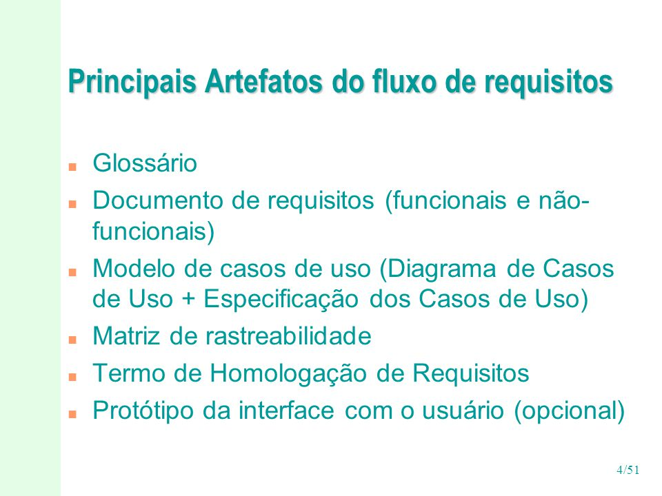 Principais Artefatos do fluxo de requisitos