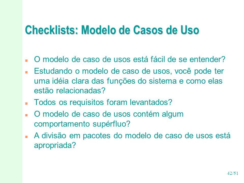 Checklists: Modelo de Casos de Uso