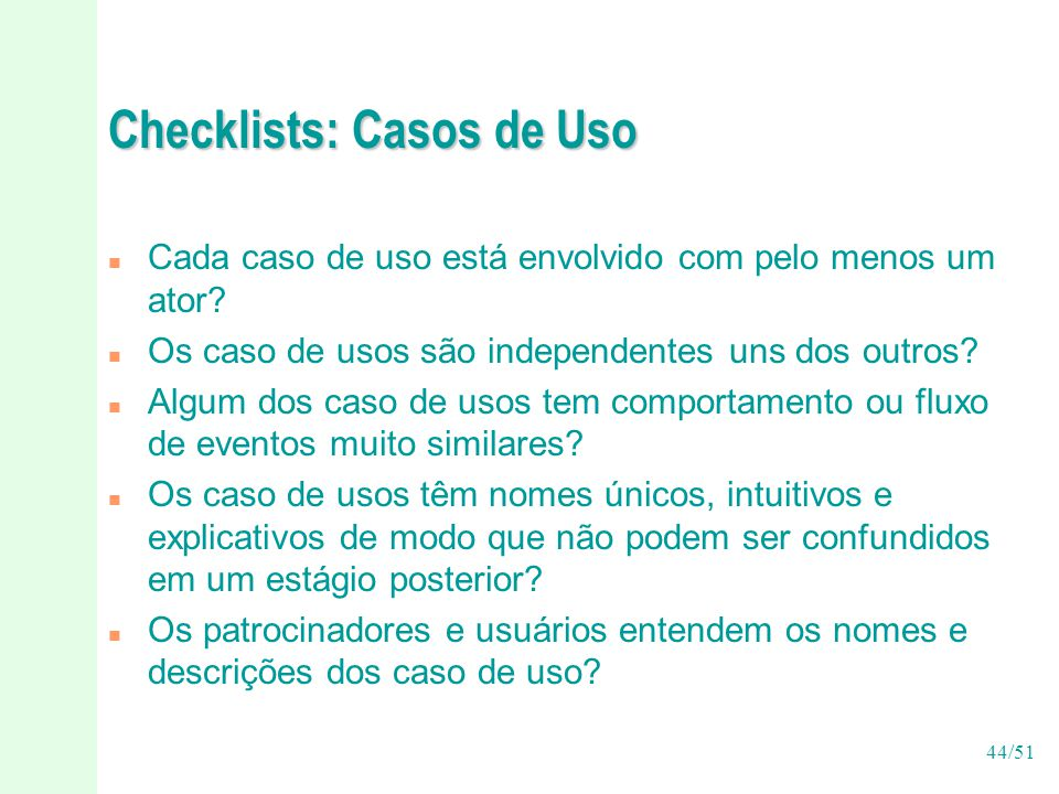 Checklists: Casos de Uso