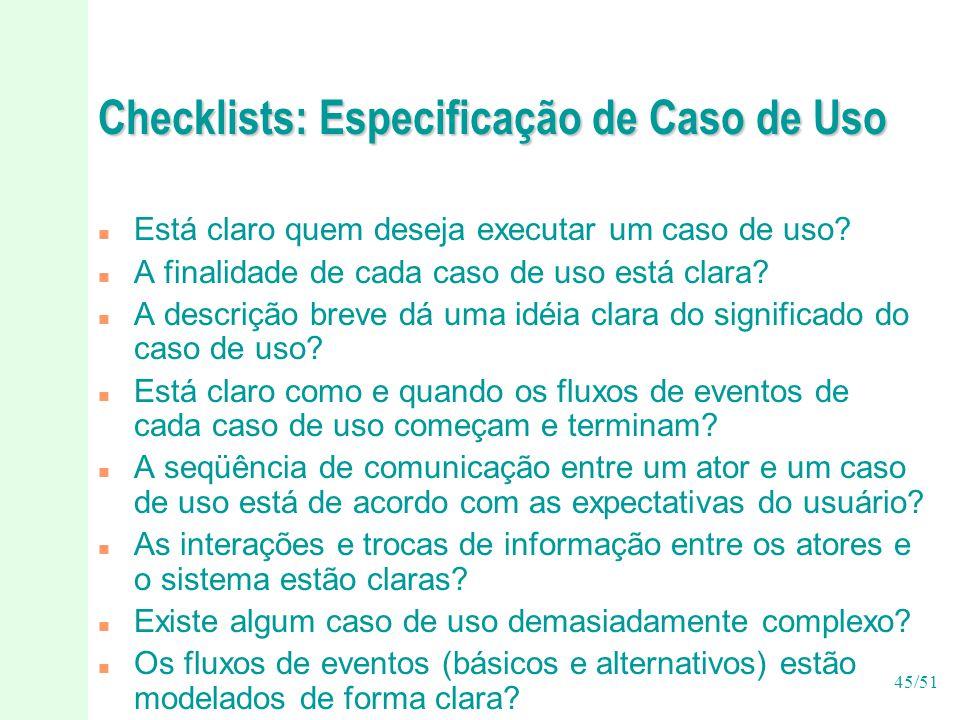 Checklists: Especificação de Caso de Uso