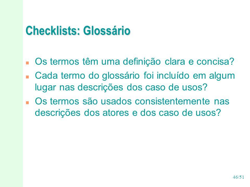 Checklists: Glossário