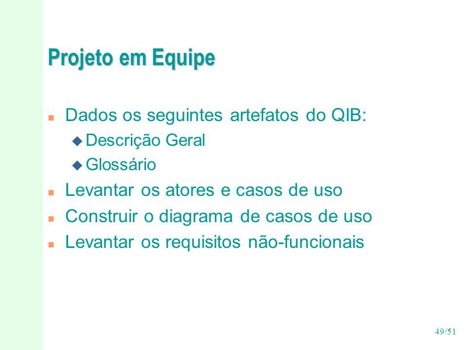 Projeto em Equipe Dados os seguintes artefatos do QIB:
