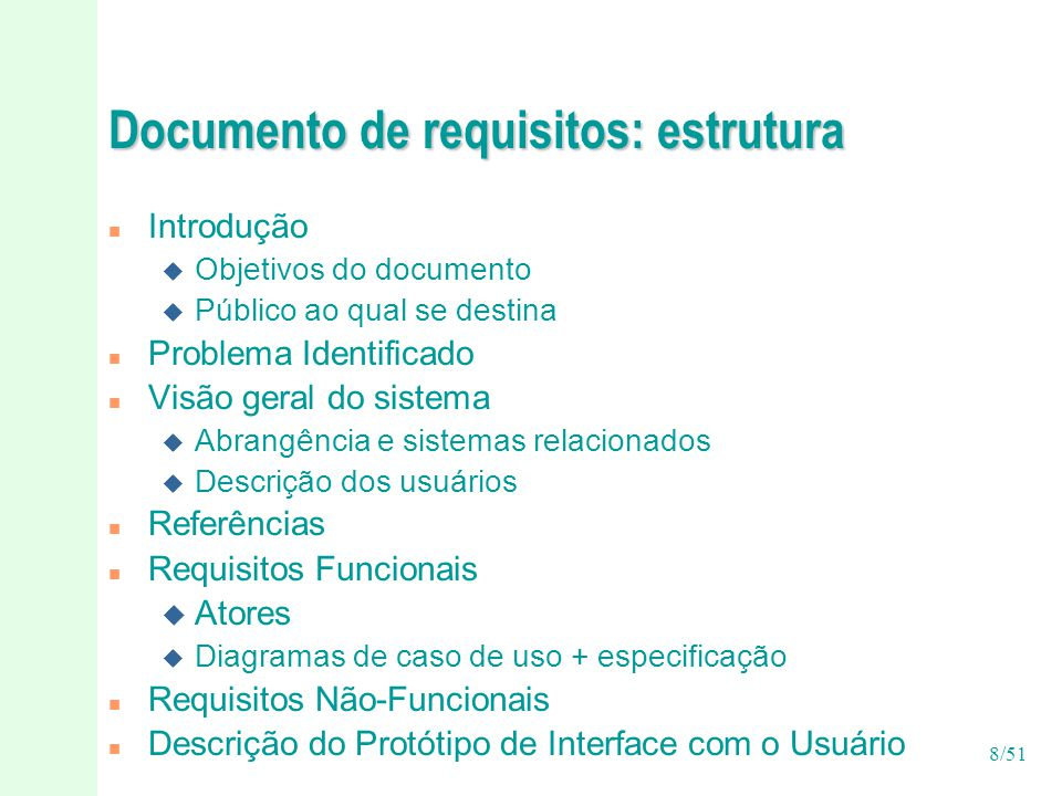 Documento de requisitos: estrutura