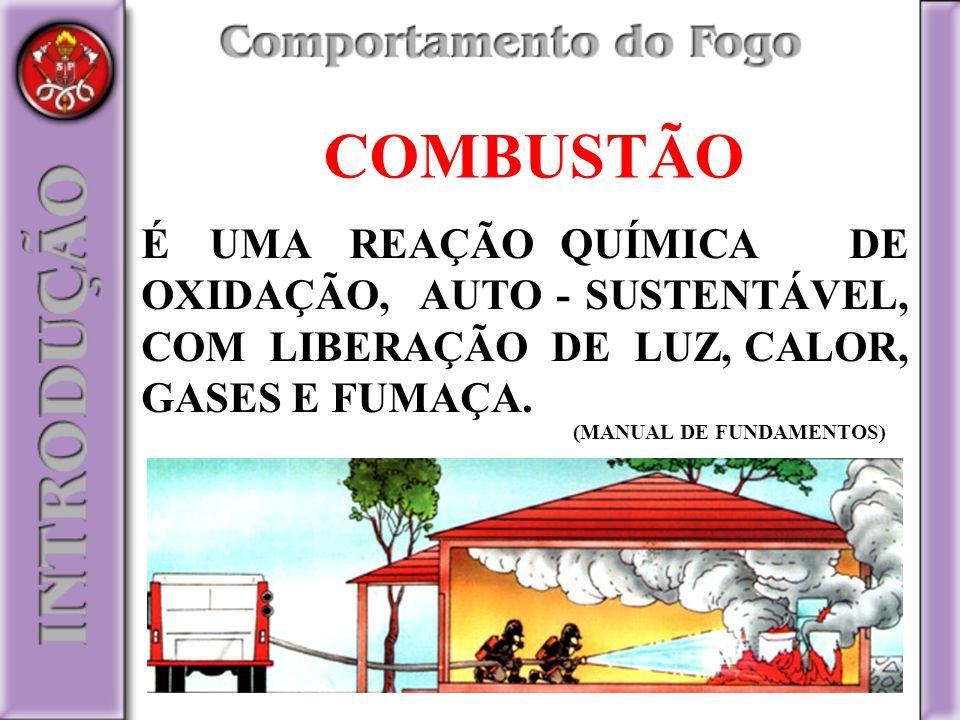 COMBUSTÃO É UMA REAÇÃO QUÍMICA DE OXIDAÇÃO, AUTO - SUSTENTÁVEL, COM LIBERAÇÃO DE LUZ, CALOR, GASES E FUMAÇA.